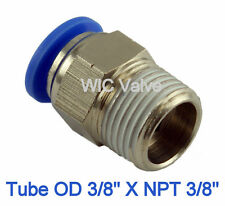 5pcs Male Straight Connector Tube OD 3/8 X NPT 3/8 One Touch Air Push In Fitting