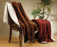 Soft Lightweight Lambs Wool Bed Throw Blankets - 13 Color Choices
