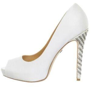 NIB $285 Badgley Mischka VIXEN wedding bridal satin pumps heels shoes 10  White