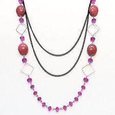 COLLIER SAUTOIR soirée chaines noire - perles ROSE & transparentes - idée cadeau