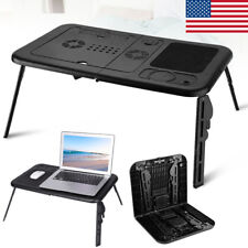 Adjustable Foldable Laptop Desk Table with Cooling Fan Stand Portable Bed Black