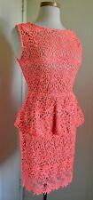 NWT Rubber Ducky Neon Orange Lace Mini Dress size L