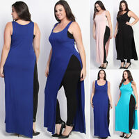 TheMogan PLUS Size High Slit Jersey Maxi Dress Tank Top Sexy Casual Long Vest