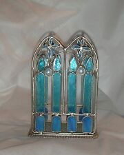 Stained Glass Blue Crosses & Candles Candle Holder