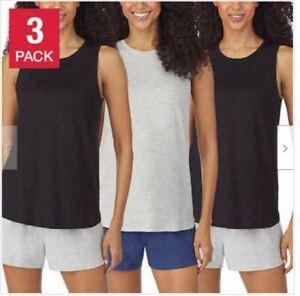 Jane & Bleecker 3 pack Cotton Stretch Tank Size MEDIUM Black Gray   NEW