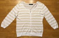 The Limited Women's White & Brown Striped Cardigan Sweater - Size: Large