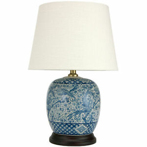 "Oriental Furniture 20"" Classic Blue & White Porcelain Jar Lamp"