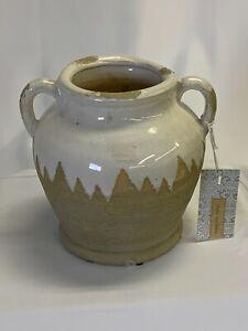 """HOME ESSENTIALS Ceramic Urn NWT La Dolce Vita Collection 7.5"""" x 8"""" White/Natural"""