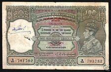 BURMA INDIA 100 RUPEES P33 1947 KING GEORGE VI RARE BRITISH TIGER GB UK BANKNOTE