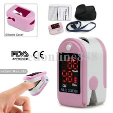 USA Finger Tip Pulse Oximeter Spo2 Monitor Blood Oxygen case & rubber cover pink