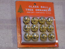 "Vintage Gold Glass Christmas Ornament Balls ~  Set of 12 ~ ¾"" /20mm in Diameter"