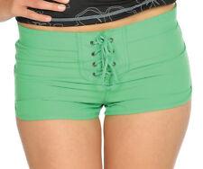 Surf Mentality Womens Microfibre Beach Shorts Green White