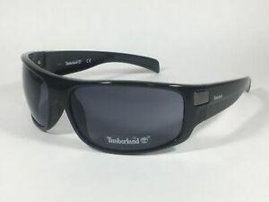 Authentic Timberland Sport Wrap Sunglasses Shiny Black Gray Lens TB7083 01A