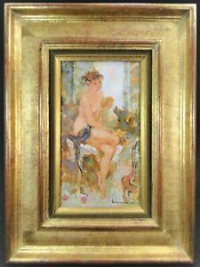 """""""Nu au repos"""" Maryse Ducaire Roque H/T Tableau encadré original Painting"""