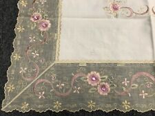 """Ivory Cream Embroidery Pink Jeweled Rhinestone 36"""" Square Embroidered Tablecloth"""