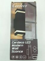 Cerdeco LED Modern Wall Sconce Outdoor Wall Light, Matte Black Painted Porch