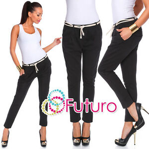 Womens Black Harem Pants With Pockets And Belt Chino Trousers Size 8 - 14 FT1772