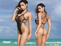 TS Exotic Black One Piece Swimsuit Extreme Thong Open Back Monokini Transparent
