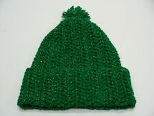 GREEN WITH SILVER STRANDS - XL SIZE STOCKING CAP BEANIE HAT!