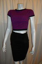 Womens  Casual club Purple/Black Striped Zipper Back Crop Top Blouse One S 8-10
