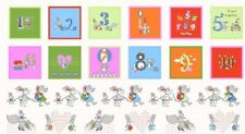 COUNT ON ME Fabric Cotton Craft Quilting Large Panel Numbers KIDS Nursery Girls
