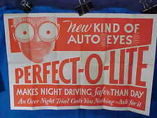 Orig 1920s AUTOMOBILE Perfect O Lite HEADLIGHTS Store ADVERTISING POSTER 19 x 12