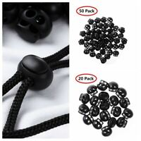 50 Toggle Elastic Rope Cord Locks Clip Spring Loaded End Stoppers Sliding Button