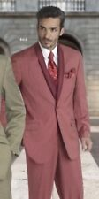 NEW EJ Samuel Super 150's Men's One Button 3 pc Suit BRICK RED Striped 40R/34W