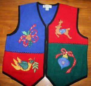 Women's Lisa International  Wool  Christmas  Holiday    Vest  XL