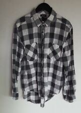 NOLLIE WOMEN'S LONG SLEEVE BUTTON UP BUFFALO CHECK FLANNEL TOP WHITE GREY LARGE