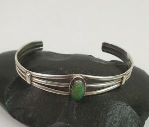 Native American Navajo Sterling Silver Turquoise Bracelet Kathleen Yazzie