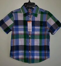 New Gymboree Boys 5-6 Short Sleeve Button Dress Shirt Blue Green Plaid #64219
