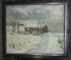 Vintage Old Oil Painting Winter Snow Rural Landscape Art American Original