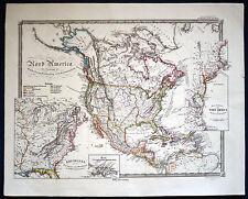"America-CARTINA ""Nord-America"" BELLA ORIGINALE-LITOGRAFIA 1853"