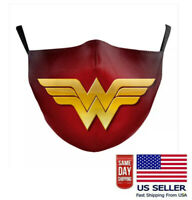 Wonder Woman Superhero Face Mask Cartoon Washable Adjustable Cloth Unisex Adult