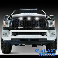 10-18 RAM 2500+3500 Raptor Gloss Black Replacement Mesh Grille+Shell+White 3xLED