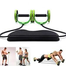 Double Wheels Ab Pull Rope Roller Abdominal Waist Slimming Exercise Equip Gift