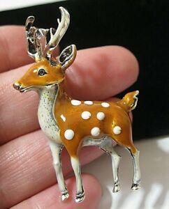 Vintage Style Cute 3D Enamel REINDEER Crystal Pin Jewellery BROOCH