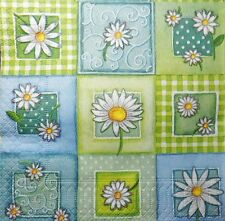 4 x single  paper  napkins  patchwork flowers    DECOUPAGE AND CRAFTING 35
