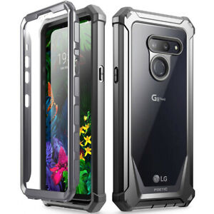 LG G8 ThinQ Clear Phone Case Poetic® Dual Layer Shockproof Cover Black