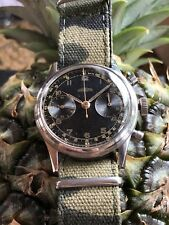 1940s Angelus Military Pilot Chronograph Mens Watch Swiss Steel 38mm Cal.215