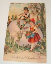 Antique Vtg Easter Postcard Children Lamb Big Egg Embossed Germany