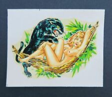 Ancienne décalcomanie Chromotransfert 1933 old transfer pin up pinup panther