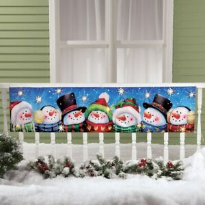 5 Foot LED Lighted Smiling Snowmen Christmas Porch Railing Fence Banner