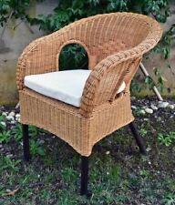 Poltrona masu sedia in vimini naturale colore miele con cuscino arredo casa