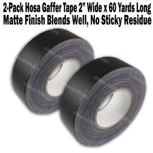 "2-Pack Hosa Gaffer's Tape 2"" Roll 60 Yards Per Roll Matte Black Gaffers Gaff"