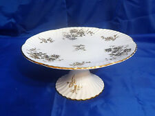 Vtg HAMMERSLEY & CO Golden Cornflower Cake Stand #H168 Gold Flowers, Rim & Trim
