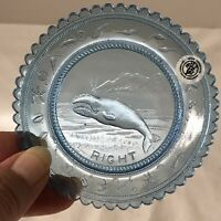 Pairpoint Glass Company Light Blue RIGHT WHALE Plate Ocean Sea Animal