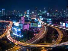 PHOTOGRAPHY CITYSCAPE TIMELAPSE TRAFFIC BANGKOK THAILAND PRINT POSTER MP3338B