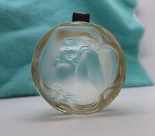 "Lalique France Daphne Hinged Dresser Jar 3"" Powder Box Gold Rim w/ Nymph, Nude"